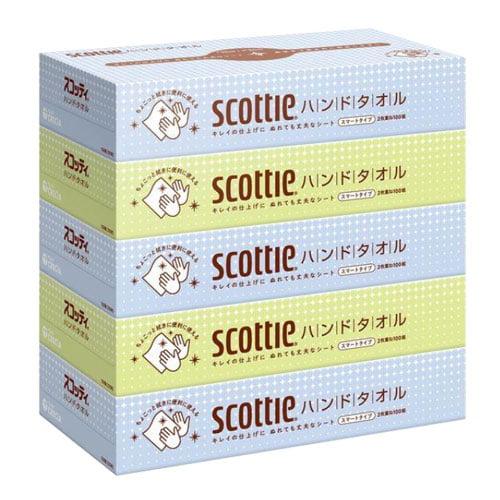 日本製紙クレシア スコッティ キレイのハンドタオル 100組×5箱: