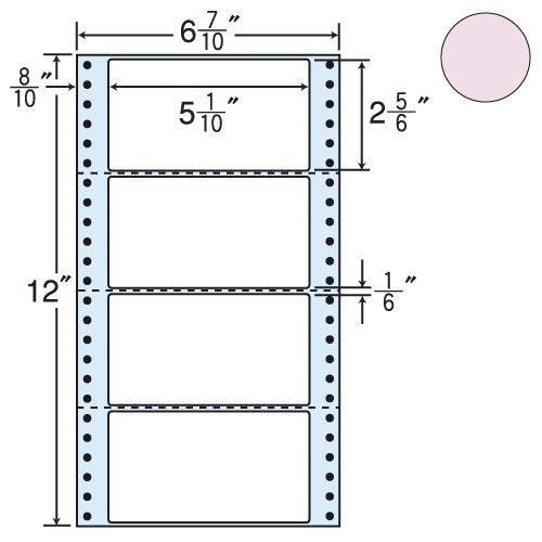 東洋印刷 タックシール nana カラータイプ (連続ラベル) ピンク 1000折 MM6AP