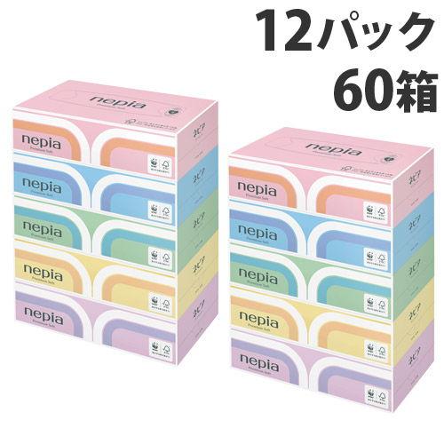 王子ネピア ティッシュペーパー ネピア プレミアムソフトティッシュ 180組 5箱×12パック