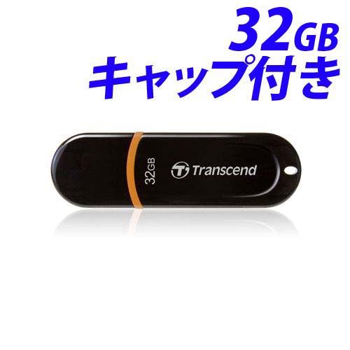 トランセンド USBフラッシュメモリ USBメモリ USB 2.0 32GB キャップ式 ブラック TS32GJF300