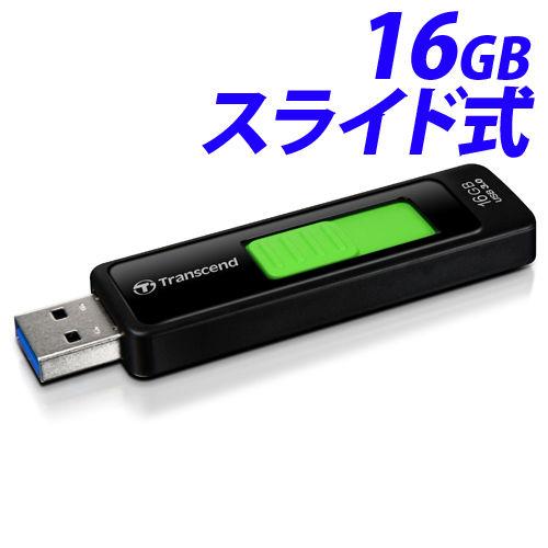 トランセンド USBフラッシュメモリ USBメモリ USB 3.1 Gen 1 16GB スライド式 ブラック TS16GJF760