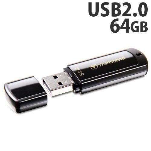 トランセンド USBフラッシュメモリ USBメモリ USB 2.0 64GB キャップ式 ブラック TS64GJF350
