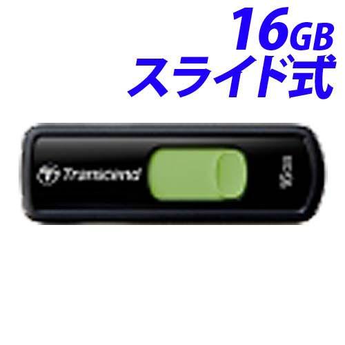 トランセンド USBフラッシュメモリ USBメモリ USB 2.0 16GB スライド式 ブラック TS16GJF500