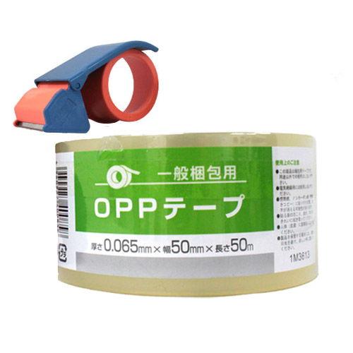 OPPテープ GRATES 厚さ0.065mm 50mm×50m 透明 1巻+テープカッター