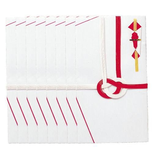 雲州堂 7本水引き金封 大阪折 赤白 60枚 43221-16887