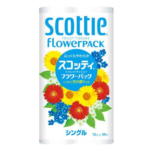 日本製紙クレシア スコッティ フラワーパック トイレットペーパー シングル 12ロール