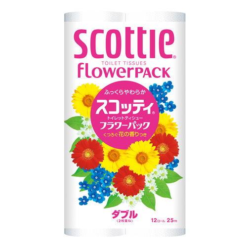 日本製紙クレシア スコッティ フラワーパック トイレットペーパー ダブル 12ロール