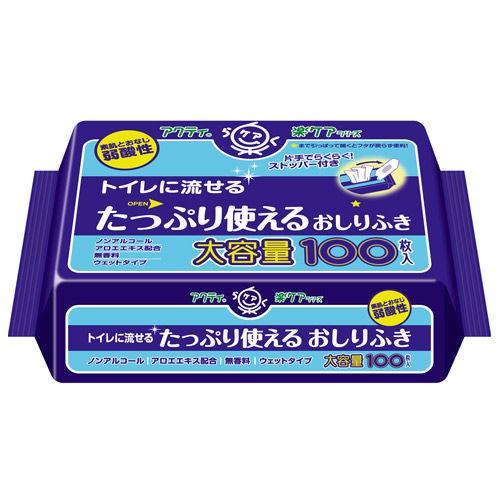 日本製紙クレシア アクティ トイレに流せるたっぷり使えるおしりふき 100枚