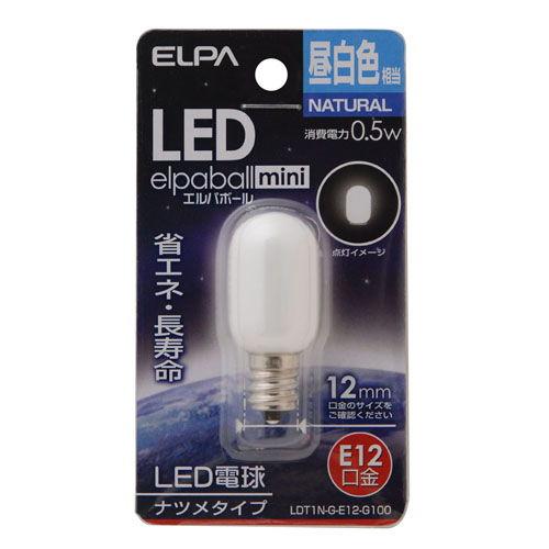 朝日電器 LED電球 エルパボールミニ LEDナツメ球 0.5W形 E12口金 昼白色 LDT1N-G-E12-G100