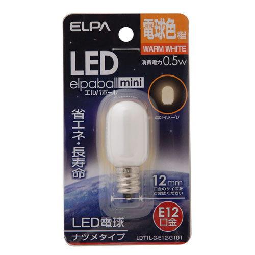 朝日電器 LED電球 エルパボールミニ LEDナツメ球 0.5W形 E12口金 電球色 LDT1L-G-E12-G101