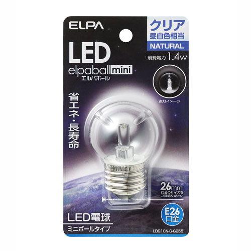【売切れ御免】朝日電器 LED電球 エルパボールミニ ミニボール球形 G40形 1.4W形 E26口金 クリア昼白色 LDG1CN-G-G255