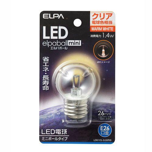 【売切れ御免】朝日電器 LED電球 エルパボールミニ ミニボール球形 G40形 1.4W形 E26口金 クリア電球色 LDG1CL-G-G256