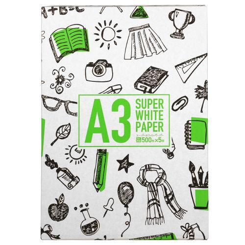 コピー用紙 スーパーホワイトペーパー 高白色 A3 500枚
