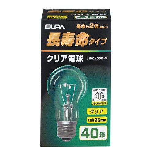 朝日電器 白熱電球 長寿命クリア電球 40W形 E26口金 L100V38W-C
