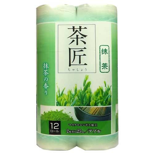 藤枝製紙 トイレットペーパー 香り付き 茶匠 ダブル グリーン 12ロール