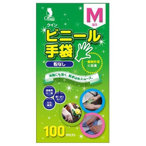 宇都宮製作 使い捨て手袋 クイン ビニール手袋 M 100枚入