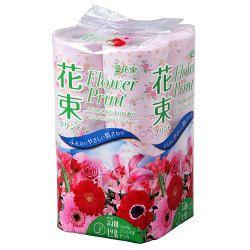丸富製紙 プリント花束 ピンクトイレットペーパー シングル 12ロール