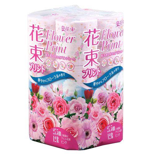 丸富製紙 プリント花束 ピンクトイレットペーパー ダブル 12ロール