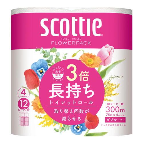 日本製紙クレシア トイレットペーパー スコッティ フラワーパック 3倍長持ち ダブル 4ロール