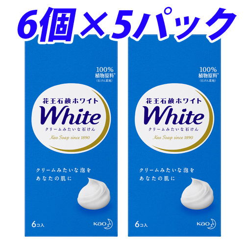 花王 固形石けん ホワイト石鹸 ホワイトフローラルの香り 1パック(6個入) 5パック
