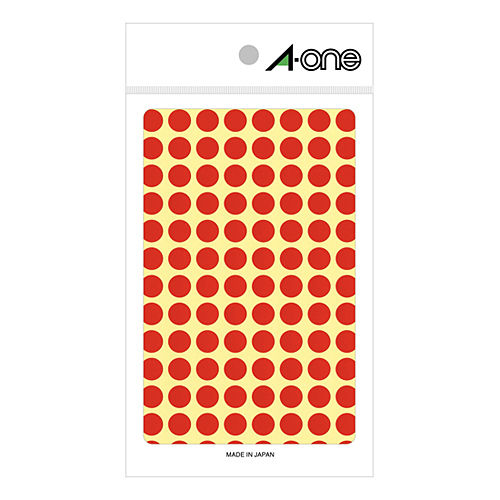 エーワン カラーラベル 9MM 赤 丸型 07001 14シート(1456片)
