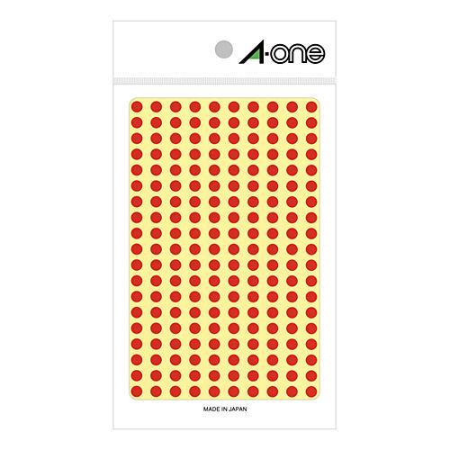 エーワン カラーラベル 5MM 赤 丸型 07061 9シート(1800片)