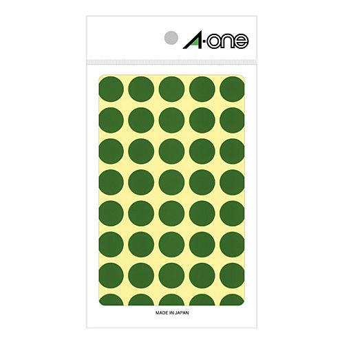 エーワン カラーラベル 15MM 緑 丸型 07023 14シート(560片)