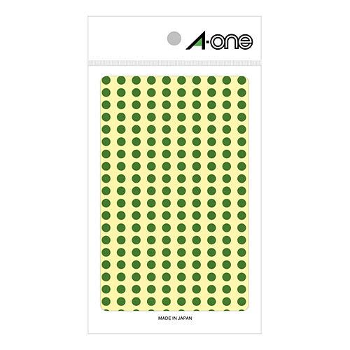 エーワン カラーラベル 5MM 緑 丸型 07063 9シート(1800片)