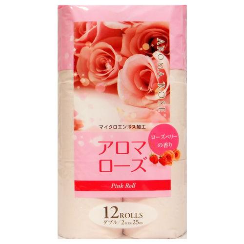藤枝製紙 アロマトイレットペーパー 香り付き アロマローズ ダブル ピンク 12ロール