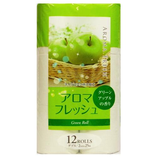 藤枝製紙 アロマトイレットペーパー 香り付き アロマフレッシュ ダブル グリーン 12ロール