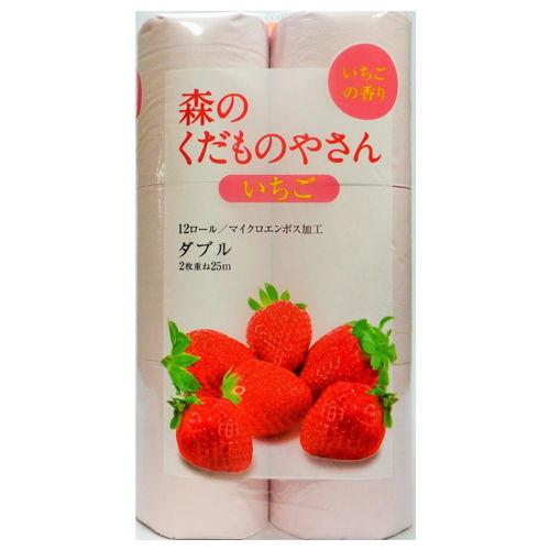 藤枝製紙 トイレットペーパー 森のくだものやさん 香り付き いちご ピンク 12ロール