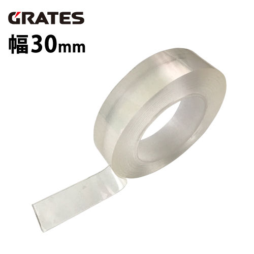 GRATES 超強力両面テープ ナノテープ 厚さ2mm 透明 幅30mm× 長さ3m 1巻
