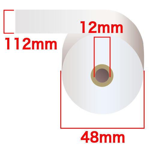 感熱紙レジロール スタンダード 112×48×12mm 50巻