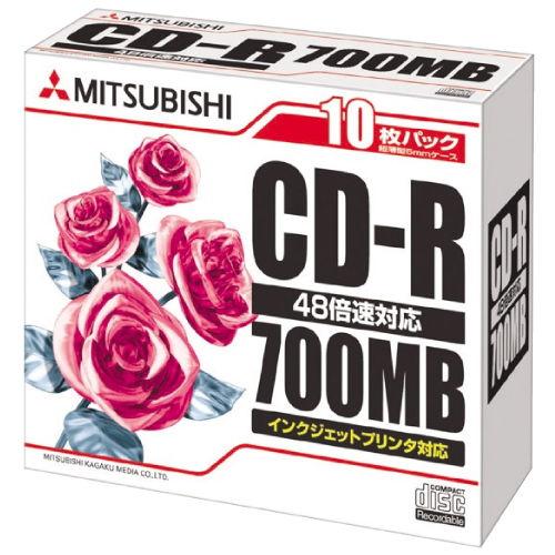 三菱ケミカルメディア CD-R データ用 ケース ホワイトレーベル 10枚 SR80PP10