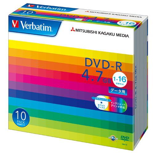 三菱ケミカルメディア DVD-R Verbatim 4.7GB 16倍速 データ用 ワイドプリンタブル 5mmスリムケース 10枚 DHR47JP10V1