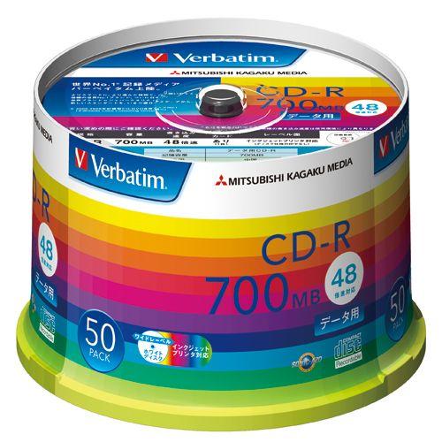 三菱ケミカルメディア CD-R Verbatim 700MB 48倍速 ワイドプリンタブル スピンドルケース 50枚 SR80SP50V1