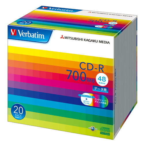 三菱ケミカルメディア CD-R Verbatim 700MB 48倍速 データ用 ワイドプリンタブル 5mmスリムケース ホワイトレーベル 20枚 SR80SP20V1