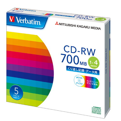 三菱ケミカルメディア CD-RW Verbatim 700MB 4倍速 ケース ホワイトレーベル 5枚 SW80QP5V1