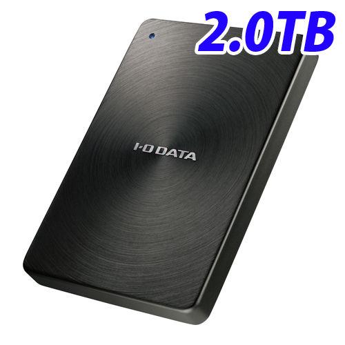 アイ・オー・データ HDD ポータブルハードディスクドライブ USB3.0対応 全面アルミボディ 日本製 2TB USB3.0/2.0対応 ブラック HDPX-UTA2.0K