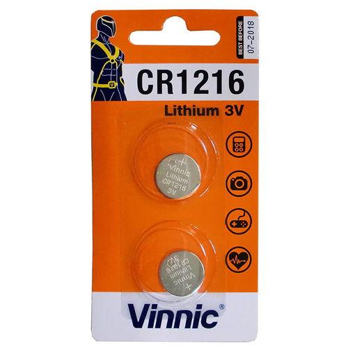 【売切れ御免】Vinnic コイン形リチウム電池 ボタン電池 2個 CR1216-C2