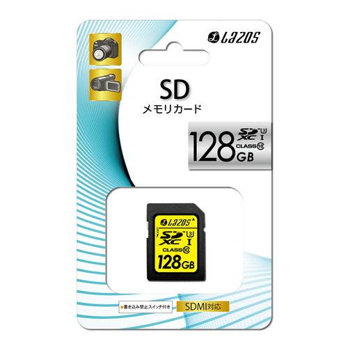 【売切れ御免】LMT Lazos SDXCカード 128GB class10 UHS-3 L-128SD10-U3