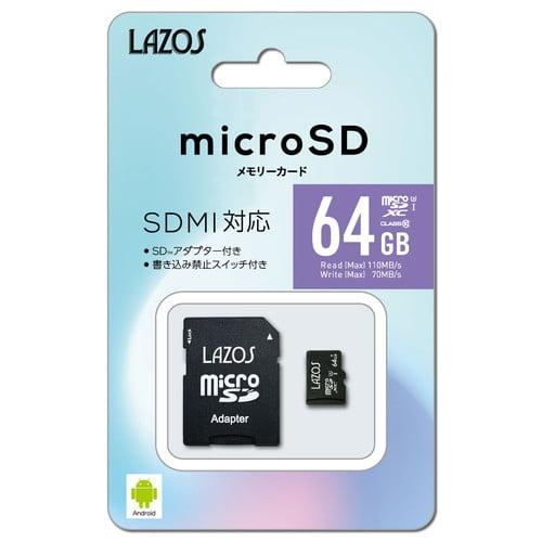 リーダーメディアテクノ microSDカード LAZOS microSDXCメモリーカード UHS-I U3 CLASS10 64GB L-64MSD10-U3