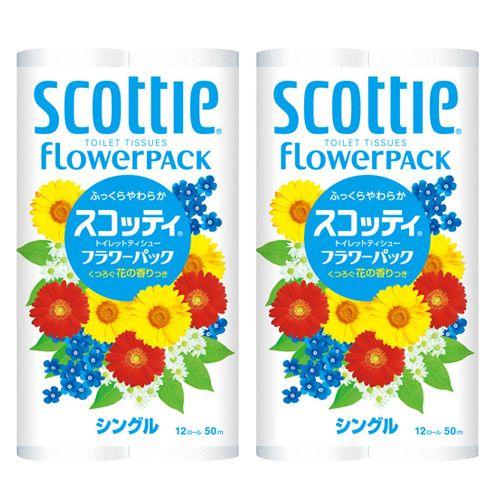 日本製紙クレシア スコッティ フラワーパック トイレットペーパー シングル 12ロール 8パック 96ロール