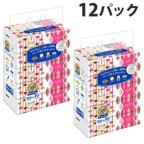 ユニバーサル・ペーパー サラサ(sarasa) ハーフサイズ ソフトパック ティッシュ 180組 10個×12パック