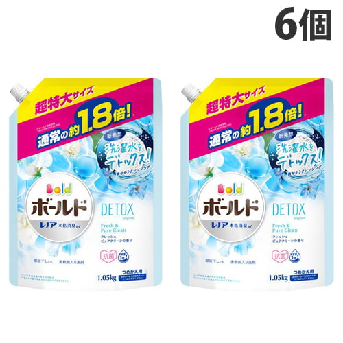 P&G 洗濯洗剤 液体 ボールド フレッシュピュアクリーンの香り つめかえ用 超特大 1.26kg×6個