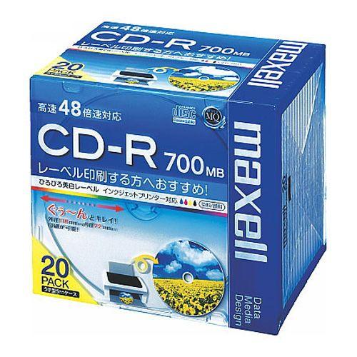 マクセル CD-R 700MB データ用 ワイドプリンタブル 5mmスリムケース 20枚 CDR700S.WP.SIP20S