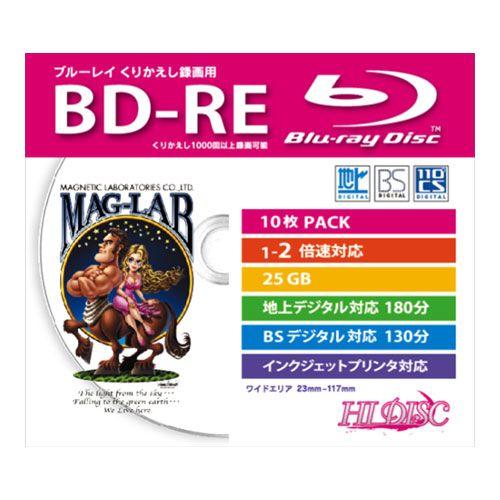 磁気研究所 BD-RE HIDISC ブルーレイディスク 25GB 2倍速 録画用 ワイドプリンタブル 5mmスリムケース ホワイトレーベル 10枚 HDBD-RE2X10SC