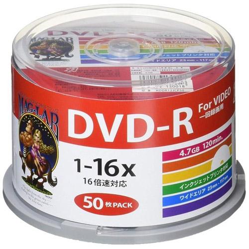 磁気研究所 DVD-R HIDISC 4.7GB 16倍速 録画用 ワイドプリンタブル スピンドルケース 50枚 HDDR12JCP50