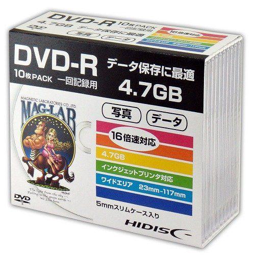 磁気研究所 DVD-R HIDISC データ用 5mmスリムケース 10枚 HDDR47JNP10SC