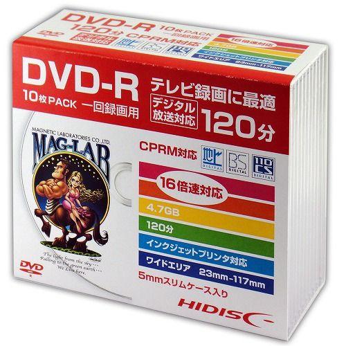 磁気研究所 DVD-R HIDISC 120分 16倍速 録画用 10枚 HDDR12JCP10SC
